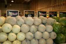 melons in supermarket