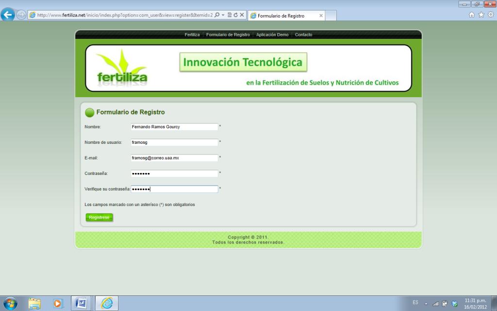 Completa el formulario de registro: para ingresar al portal y hacer uso de los servicios que ofrece, es necesario que los usuarios (alumnos, profesores, investigadores, productores, consultores, empresas del sector) llenen el formulario de registro.