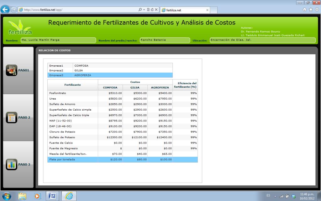 Segundo paso: Captura de nombres de tres empresas comercializadoras de fertilizantes y los costos de los productos.