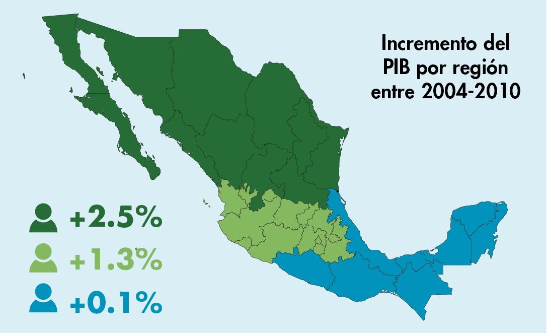 mapa pib mex